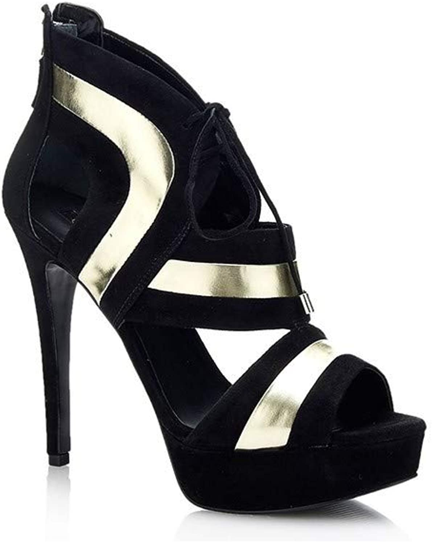 Guess Platform Sandals Female Black-gold Size 5,5 FLKAR1SUE09-BLKGI-39