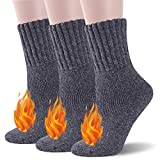 Thermal Socks Women, Ceafer Warm Soft Fuzzy Lined Heated Wool Socks Solid Color Fun Casual Socks,Winter Warm Socks For Extreme Cold Weather Boot Socks Cream Insulated Crew Socks,Gifts For Women Mom