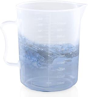 لیوان اندازه گیری Kalevel 1000ml با لیوان اندازه گیری دسته پلاستیکی پلاستیکی فارغ التحصیل لیوان اندازه گیری شفاف آزمایشگاهی اندازه گیری لیوان آبشارهای شیشه ای (1000ml)