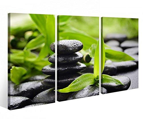 Leinwandbild 3 Tlg. Wellness Stein Yoga Bambus Massage Leinwand Bild Bilder auf Keilrahmen Holz - fertig gerahmt 9O790, 3 tlg BxH:120x80cm (3Stk 40x 80cm)