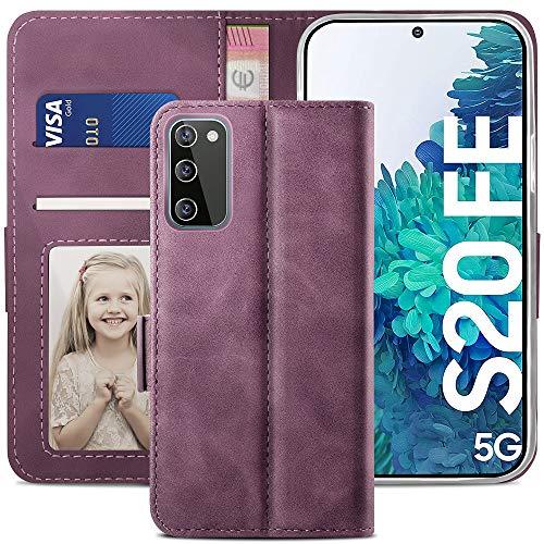 YATWIN Handyhülle Kompatibel mit Samsung Galaxy S20 FE Hülle, Klapphülle Samsung S20 FE Premium Leder Brieftasche Schutzhülle [Kartenfach] [Magnet] [Stand] Handytasche Hülle für Samsung S20 FE, Weinrot