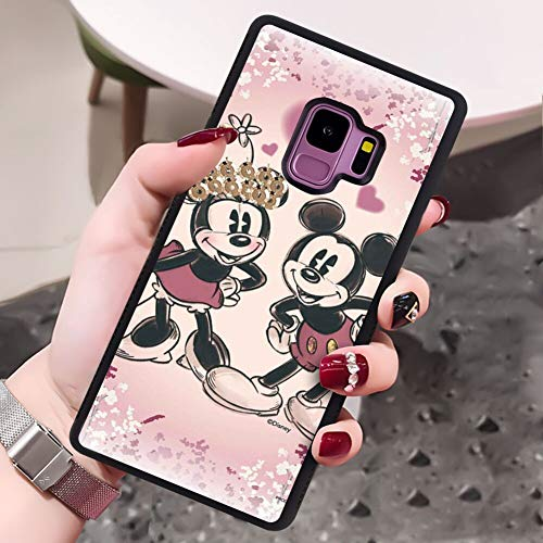 DISNEY COLLECTION Samsung Galaxy S9 Case Non-Slip Phone Cover Mickey Mouse Love Minnie Mouse for Black Shockproof TPU and Hard PC Back Slim Fit Drop Protection Shell
