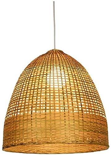 Lámpara De Pared Simple Y Fresca Del sudeste asiático de la vendimia tropical E27 Rattan cesta de techo colgante de mano ligera de tejido de mimbre natural acabado del tambor sombra de la lámpara colg