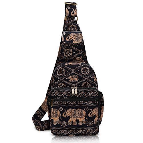 Damen-Schultertasche, Elefant, Leinen, groß, Boho-Rucksack, Mehrzweck-Tagesrucksack, Boho-Hobo-Umhängetasche.
