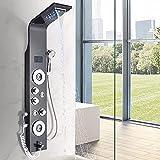 Sistema doccia in acciaio inox 304 con 4 funzioni, pannello doccia con display LCD, 4 ugelli massaggianti, doccetta a pioggia, sistema doccia per bagno