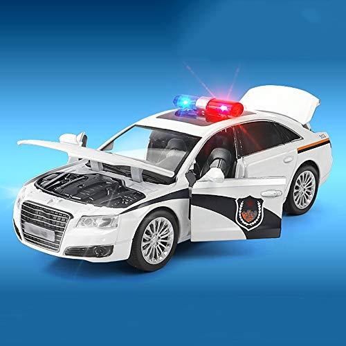 YYQIANG Policía de los niños juguete de juguete de metal de chico resistente al chico de la rotura del metal puede abrir la versión de la aleación de la puerta del sonido y la luz hacia atrás del jugu