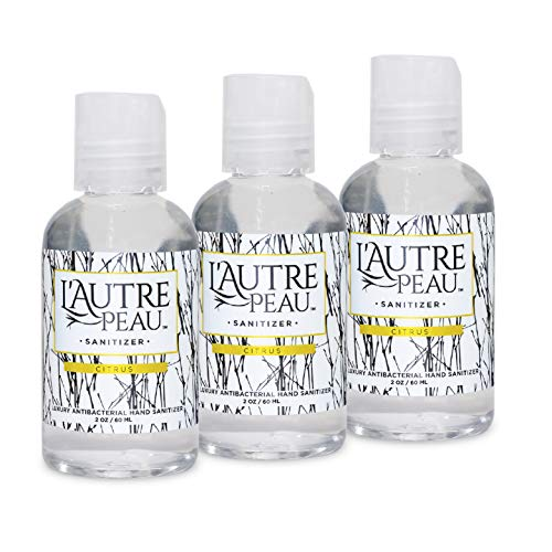 Hand Sanitizer Gel with Aloe Vera & Vitamin E Made in USA by L'Autre PEAU - Citrus Scented Alcohol Based Liquid Instant Hand Cleaner (2oz 3 Pack)