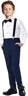 SaniLion پسران 4 قطعه کت و شلوار مناسب جلیقه مناسب جلیقه جلیقه لباس رسمی سیاه و سفید آبی لباس برای پسر