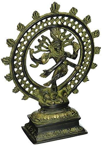Ethnic Messing Figur der Lord Natraj, religiöse Idol, Messing Statue, tanzende Shiva, wertvollen Sammlerstück, Handarbeit Home Dekorative (20,3cm grün)