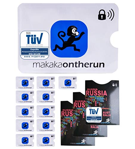 MakakaOnTheRun MakakaOnTheRun (15 Stk) TÜV geprüfte RFID Schutzhüllen für EC-Karten & Reisepässe - RFID Blocker NFC Kreditkartenhülle EC-Karte, Bankkarte, Kreditkarte, Reisepässe
