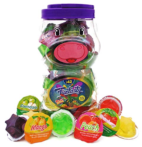 Funtasty Jelly Fruit Cups, Naturally Flavored Juice Snack - Low Carb 7g - 42 Count Cow Shaped Jar