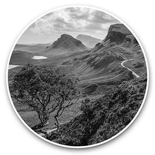 Awesome Vinyl Stickers (Set of 2) 25cm bw - Quiraing Mountains Isle of Skye Scotland Fun Decals for Laptops,Tablets,Luggage,Scrap Booking,Fridges,Cool Gift #37294