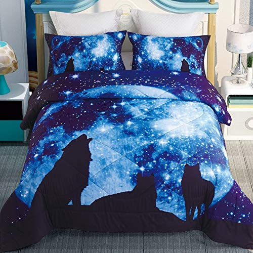 DECMAY 3D Galaxy Wolf Bedding Queen Wolf Blue Moonlight 3 Pieces with 1 Comforter and 2 Pillow Cases Box Stitched Durable Quilt Set for Children and Adults,Queen Size