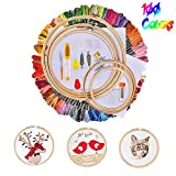 Huttoly Stickerei Set Kreuzstich Set Stickgarn Kit mit 5 Stück Bambus Stickrahmen,100 Farbe Fäden,12 von 18-Zoll 14 Count Classic Reserve Aida und Nadeln Set für Kreuzstich Stricken...