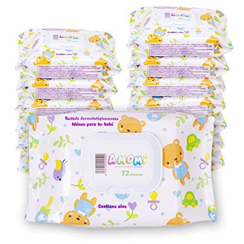 AMOMI Toallitas para Bebé, 14 Paquetes 1008 Unidades, Toallitas húmedas Bebé, con Tapa, Testado dermatológicamente y 0% de fenoxietanol, parabenos y alcohol