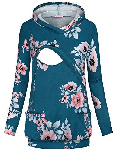 JOYMOM Breastfeeding Hoodie Plus Size Maternity Nursing Top Long Sleeve Floral Postpartum Sweatshirt Mama Adorable Baggy Workout Premium Delivery Clothes Blue XL