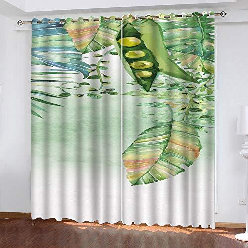 MMHJS Cortinas De Impresión De Hojas Verdes Nórdicas 3D Jardín Balcón Sala De Estar Dormitorio Cortinas Opacas Poliéster Cortinas Perforadas Impermeables (2 Piezas)