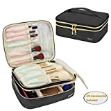 Teamoy Makeup Brushes Case with Top Handle, Travel Makeup Cosmetic Organizer Bag for Makeup Brushes and Beauty Essentials- Black(up to 8.8