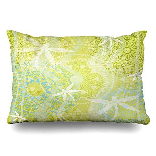 gong Throw Pillow Cover Standard Mendie Pattern Dragonfly Abstract Yoga Layer Verde Floral India Sari Funda de cojín con Cremallera étnica b