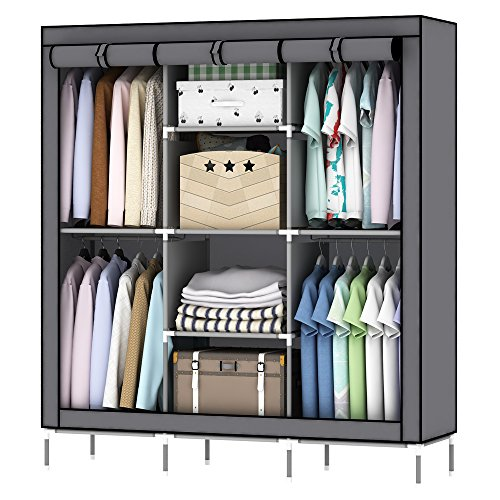 oumyjia 69 inches Non-Woven Fabric Wardrobe Portable Clothes Closet Storage Organizer, 51 x 17.5 x...