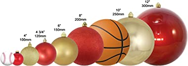 """Christmas by Krebs Giant Commercial Shatterproof UV Resistant Plastic Christmas Ball Ornament Wedding Party Event Decor, 12"""" (300mm), Sonic Red"""