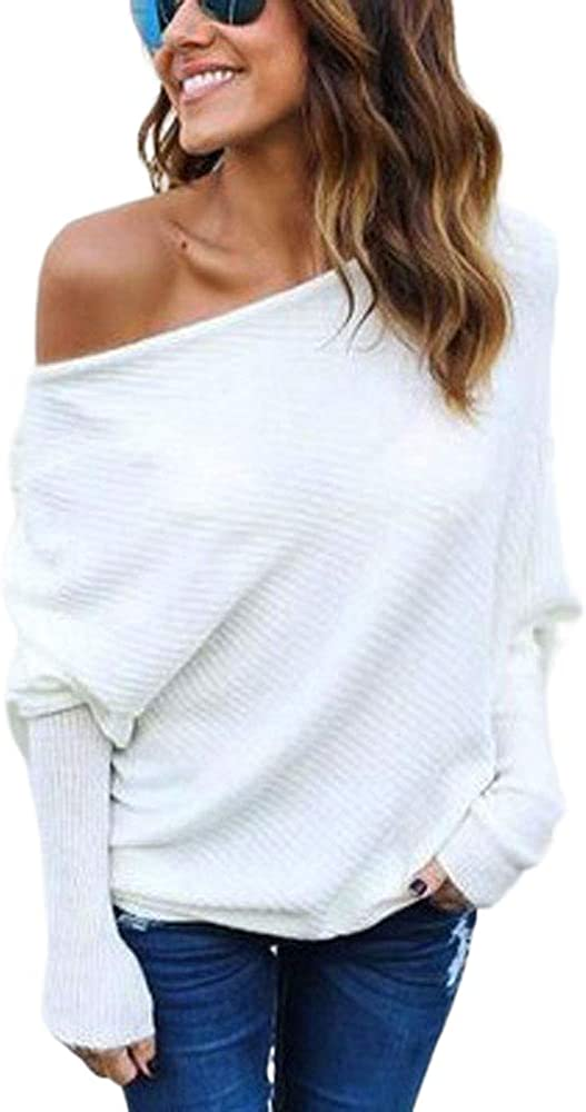 VARWANEO Women's Casual Shirt Sweater 買い取り 新作通販 Off-The-Shoulder Knit Sexy