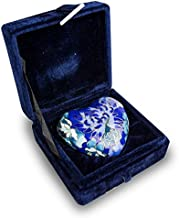 OneWorld Memorials Cloisonne Floral Heart Bronze Keepsake Urns - Extra Small - Holds Up to 3 Cubic Inches of Ashes - Cloisonne Blue Cremation Urn for Ashes