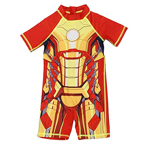 XNheadPS Avengers Hierro Hombre Nadar Traje niños de baño con Sombrero Dibujos Animados Manga Corta Surfsuit para niñas Vacaciones Verano Vacaciones,Red- Kid L(105~115cm)