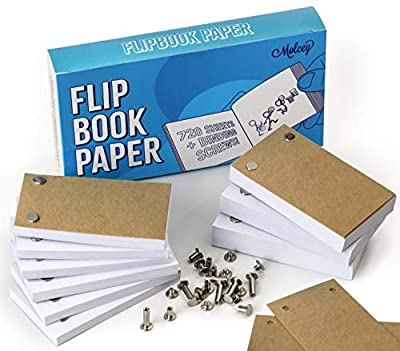 Blank Flip Book Paper with Holes - 720 Sheets (1480 Pages) Flipbook Animation Paper : Works with Flip Book Kit Light Pads: for Drawing, Sketching Supplies/Comic Book Kit - Drawing Paper Animation Kit by Molcey