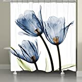 EZON-CH Customize Waterproof Modern Romantic Blue Flower Design Print Polyester Fabric Bathroom Shower Curtain (72x96, Blue)
