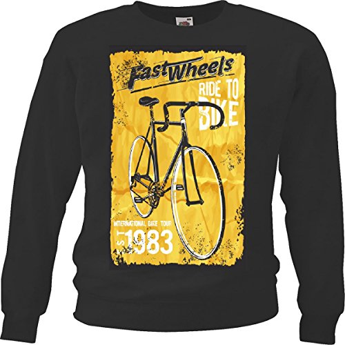 Sweatshirts Retro voor fietsen, road, 80 fietsen, accessoires voor wielrennen, zwart