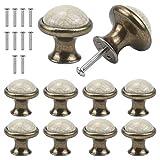 Jinlaili 10pcs cerámica pomo de armario redondo, 33mm pomos y tiradores de muebles, vintage tirador para cajón, pomos para puertas armarios de cocina cajones de comodas antiguos (b)
