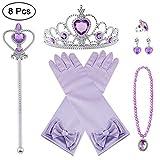 Vicloon Prinzessin Kostüme Zubehör Set of 8, Mädchen Dress up Zubehör mit ELSA Handschuhe,...