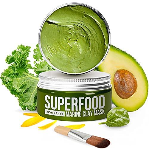 Körpermousse mit Avocado & Superfoods 100ml | Gesicht Polierer aus Meereslehm | Gesichtsporen - Minimierer | Reinigt Pickel und entgiftet die Haut