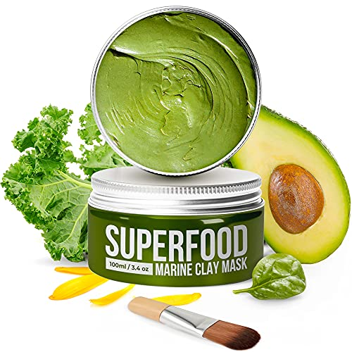 Gesichtsmaske mit Avocado & Superfoods 100ml | Gesicht Polierer aus Meereslehm | Gesichtsporen - Minimierer | Reinigt Pickel und entgiftet die Haut | Gesichtsmasken Beauty