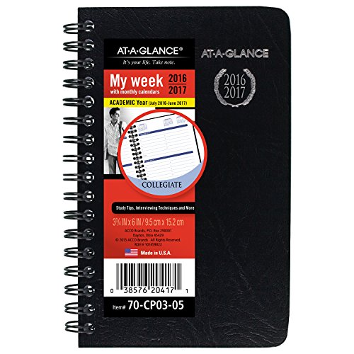 """AT-A-GLANCE 70CP030517 Academic Year Weekly/Monthly Pocket Appointment Book/Planner, 2016-2017, 3-3/4""""x6"""" (70-CP03-05)"""