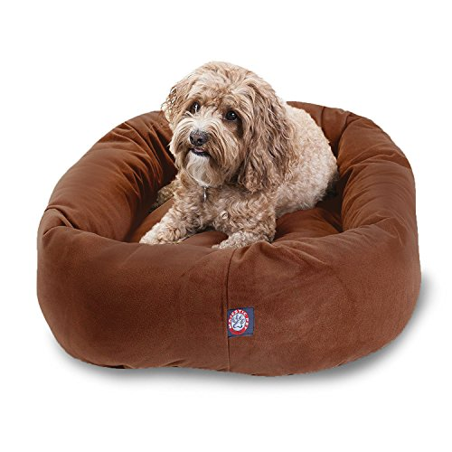32 inch Rust Suede Bagel Dog Bed By Majestic Pet Products