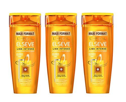 L'Oréal Paris Elsève Liss Intense Shampooing Huile Argan 72h Anti Frisottis 400 ml - Lot de 3
