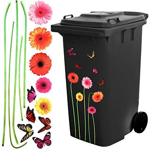 Selbstklebender Blumen und Schmetterling Aufkleber Wheelie Bin Mülltonnen Dekorativer Aufkleber für Hausdekoration