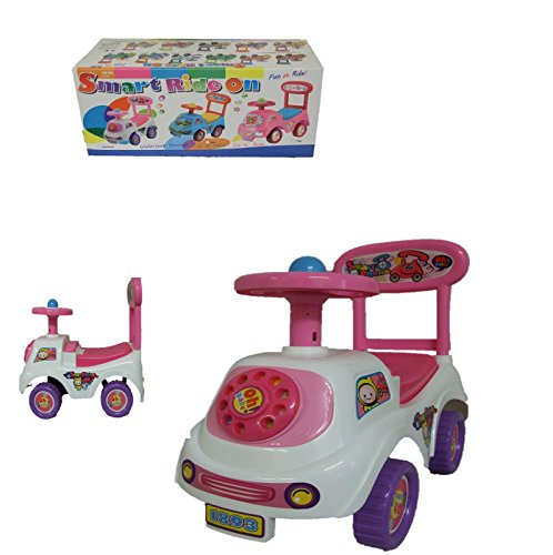 Allkindathings Push Along Smart Ride On Children Car Phone Theme Toy White Pink Purple