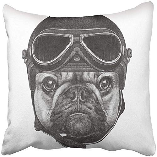 Customize Funny Throw Pillows Cover Cases Square Portrait of French Bulldog with Helmet Hand Drawn Airman Animal Aviation Aviator Beautiful Cushion Pillowcases for Kids Men Women Mom Dad Child Gift