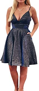 Jonlyc Glitter A Line V Neck Spaghetti Straps Homecoming Dresses with Pockets
