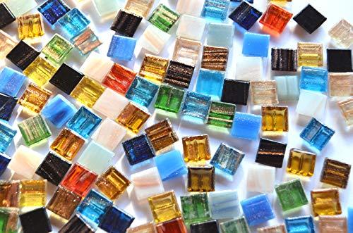 300 St. Glas-Mosaiksteine 1x1cm mit Goldfäden, nicht echt!; ca. 204g.Goldline, Flimmer (Bunt)