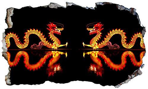 Arte de la pared de la ventana mágica del dragón chino 3D que aplasta la pasta negativa autoadhesiva-DECORACIÓN DE LA HABITACIÓN Dormitorio Cocina-50x70cm