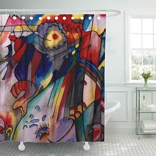 N\A Cortina de Ducha Colorido Wassily Kandinsky Resumen 1913 Pintor Ruso Rojo Bauhaus Decoración del hogar Baño a Prueba de Agua Cortinas de baño con Ganchos