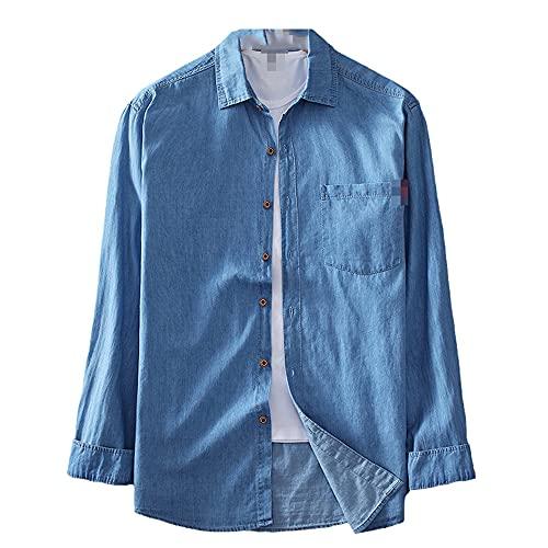 JJBKT De gran tamaño de algodón y lino primavera y otoño de los hombres de manga larga de algodón puro denim casual chaqueta camisa de gran tamaño L-8XL