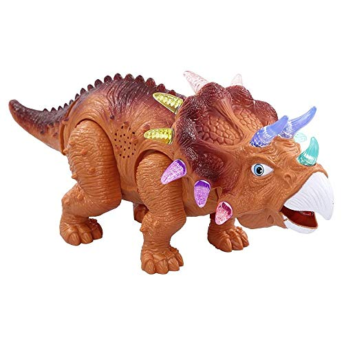 KINGBOT-ERollDeep Jurassic World Dinosaur Toys for Kids LED Light Up Walking and Roaring Realistic Triceratops Dinosaur Toys for 3 4 5 6 Year Old Boys and Girls (Dino)