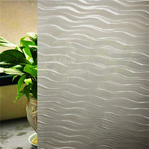 Size 45 * 200Cmstained No Glue Static Cling Foils Privacy Window Stickers, 3D Thickened Wave Pattern Frosted Glass Window Film