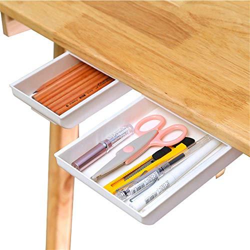 Desk Pencil Drawer Organizer, Large Capacity Pop-Up Student Storage Hidden Desktop Drawer Tray, Great for Office School Home Desk (2-Pack)