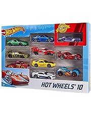 Hot Wheels - 1:64 Die-Cast speelgoedauto's cadeauset met 10 auto's, willekeurige selectie, speelgoed vanaf 3 jaar.